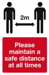 Please maintain a safe distance Coronavirus safety sign