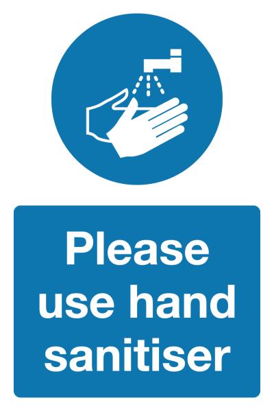 Please use hand sanitiser Coronavirus signage