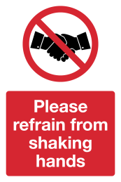 Please refrain from shaking hands Coronavirus safety signage