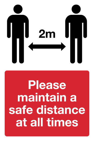 Please keep 2m apart Coronavirus safety sign