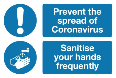 Sanitise your hands Coronavirus signage