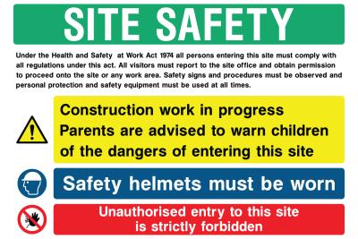 Site Safety Construction work progress, Safety Helmets Sign