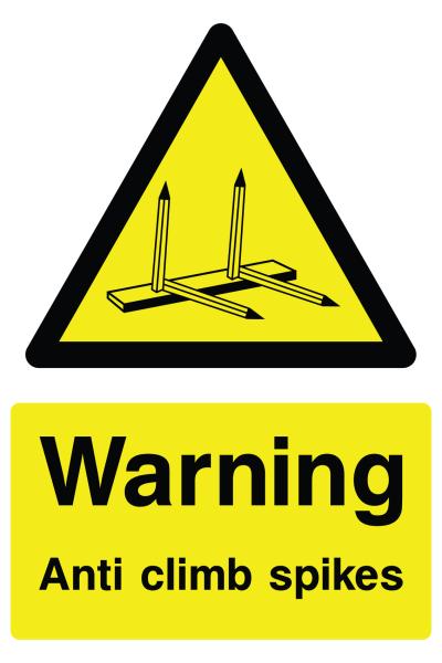 Warning Anti Climb Spikes Sign