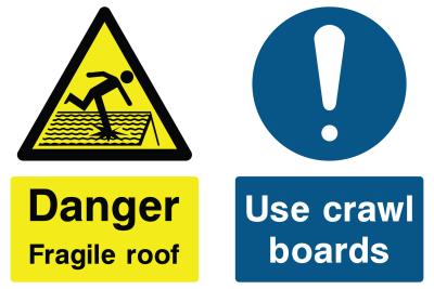 Danger Fragile Roof Sign - Use Crawl Boards