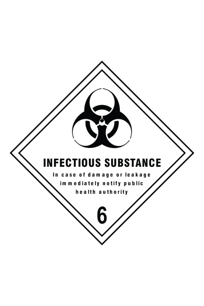 Infectious Substance In Case Of Damage Or Leakage Immediately Notify Public Health Authority Sign