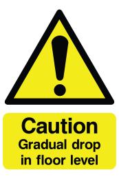 Caution Gradual Drop In Floor Level Sign