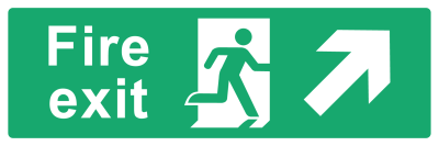 Fire Exit Sign - Arrow Top Right - Wide
