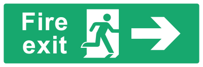 Fire Exit Sign - Arrow Right - Wide