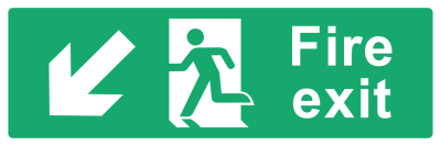 Fire Exit Sign - Arrow Bottom Left - Wide