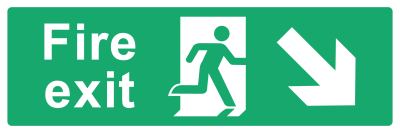 Fire Exit Sign - Arrow Bottom Right - Wide