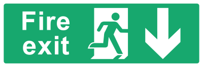 Fire Exit Sign - Arrow Down - Wide