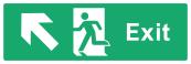Exit Sign - Arrow Top Left - Wide