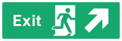 Exit Sign - Arrow Top Right - Wide