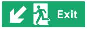 Exit Sign - Arrow Bottom Left - Wide