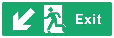 Exit Sign - Arrow Bottom Left - Wide
