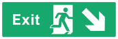 Exit Sign - Arrow Bottom Right - Wide