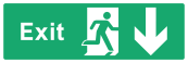 Exit Sign - Arrow Down - Wide