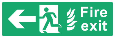 Fire Exit Sign - Arrow Left With Flame - Wide