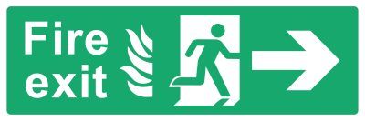 Fire Exit Sign - Arrow Right With Flame - Wide