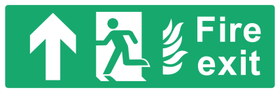 Fire Exit Sign - Arrow Up With Flame - Wide