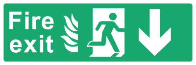 Fire Exit Sign - Arrow Down With Flame - Wide