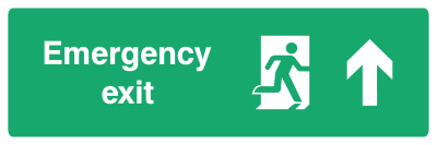 Emergency Exit Sign - Arrow Up - Wide