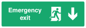 Emergency Exit Sign - Arrow Down - Wide