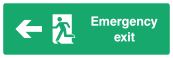 Emergency Exit Sign - Arrow Left - Wide