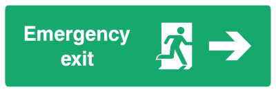 Emergency Exit Sign - Arrow Right - Wide