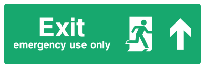 Exit Emergency Use Only Sign - Arrow Up - Wide