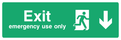 Exit Emergency Use Only Sign - Arrow Down - Wide
