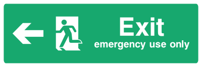 Exit Emergency Use Only Sign - Arrow Left - Wide