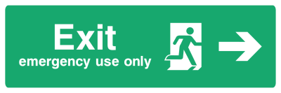 Exit Emergency Use Only Sign - Arrow Right - Wide