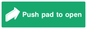 Push Pad To Open Sign - Arrow - Wide
