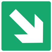 Emergency Escape Sign - Arrow Bottom Right