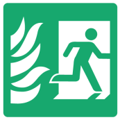 Fire Exit Right Sign - Square
