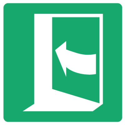 Push On Left to Open Fire Exit Sign