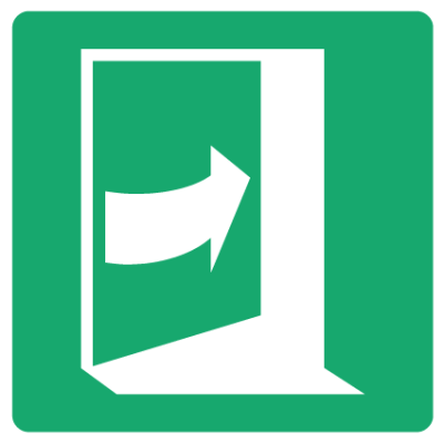 Push On Right to Open Fire Exit Sign