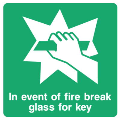 In Event Of Fire Break Glass For Key Sign