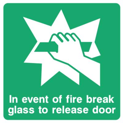In Event Of Fire Break Glass To Release Door Sign