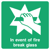 In Event Of Fire Break Glass Sign
