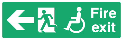 Fire Exit Sign - Access For Disabled Arrow Left - Wide