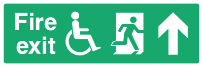 Fire Exit Sign - Access For Disabled Arrow Up - Wide