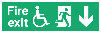 Fire Exit Sign - Access For Disabled Arrow Down - Wide
