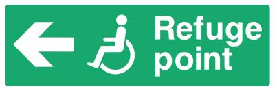 Refuge Point Sign - Arrow Left - Wide
