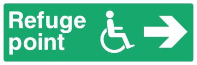 Refuge Point Sign - Arrow Right - Wide
