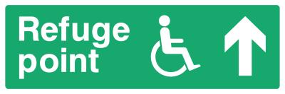 Refuge Point Sign - Arrow Up - Wide
