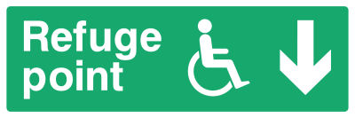 Refuge Point Sign - Arrow Down - Wide