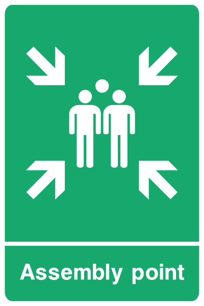 Assembly Point Arrows Sign