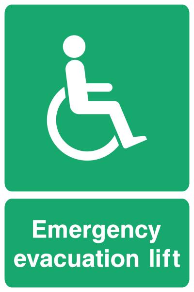 Emergency Evacuation Lift Sign